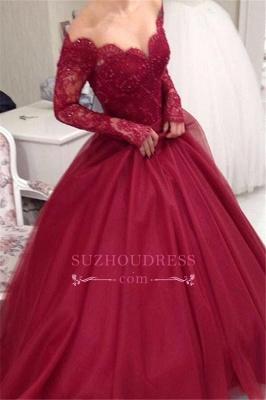 Princess Long-Sleeves Elegant Tulle V-neck Ball-Gown Lace Off-the-shoulder Evening Dresses BA6059_3
