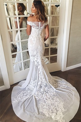 Off The Shoulder Sheer Tulle Bride Dress  Lace Appliques Mermaid Buttons Wedding Dress_4