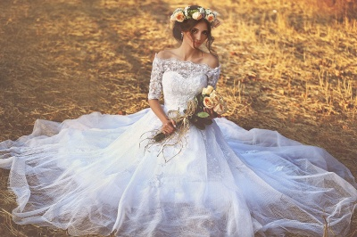 Vintage Bateau Half Sleeve Lace Wedding Dress Latest Custom Made Sweep Train Bridal Gown MH051_3