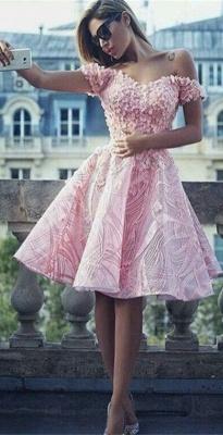 Off The Shoulder 3D Appliques  Homecoming Dress Pink Unique Luxurious Hoco Dress BA7122_1