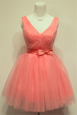 Cute Watermelon V-Neck Mini Homecoming Dress with Bowknot Lace-up Tiered Ruffle Short Bridesmaid Dresses_1