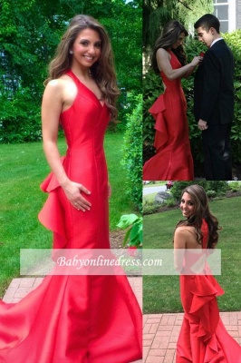 Sleeveless Mermaid Long Prom Dresses  Red Halter Evening Gown_1