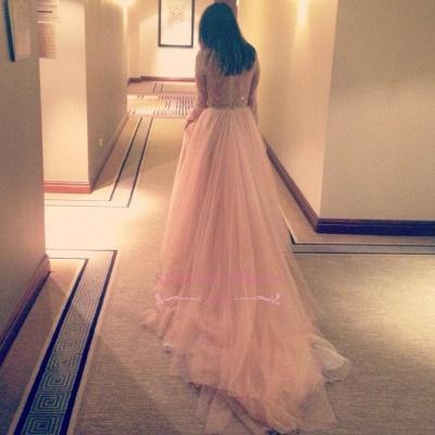 Long-Sleeve Lace Tulle Beautiful Long V-Neck Evening Dress_3