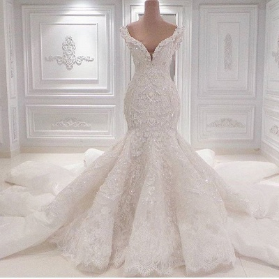 Glamorous V-Neck Lace Wedding Dresses Mermaid Vintage Bridal Gowns Online_3