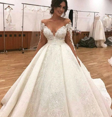 Elegant Lace Long Sleeves Wedding Dresses | Ball Bridal Gowns with Beadings_3