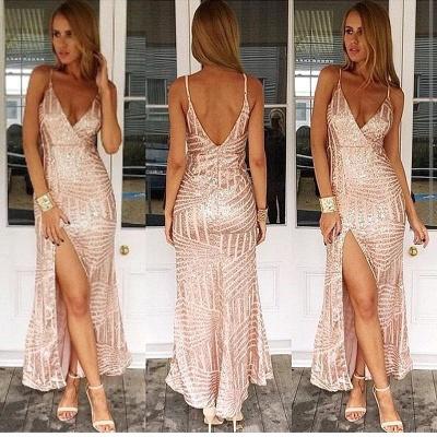 Spaghetti Straps Sexy V-neck Evening Dress Sequins Open Back Prom Dress with Split BA3044_2