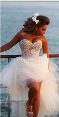 Crystal White Sweetheart Tulle Beach Wediing Dress Cute Ball Gown Latest Summer Bridal Gowns with Beadings_1
