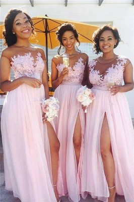 Pink Lace Chiffon Sexy Bridesmaid Dresses  Splits Long Dress for Maid of Honor Online BA6919_1