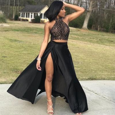Halter Open Back Two Piece Prom Dresses | Black Lace Sexy Slit Sleeveless  Evening Dress_3
