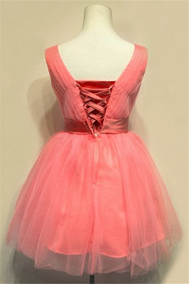 Cute Watermelon V-Neck Mini Homecoming Dress with Bowknot Lace-up Tiered Ruffle Short Bridesmaid Dresses_2