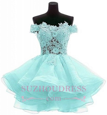 Cute Ruffles Short Off-the-Shoulder Flowers Homecoming Dress_4