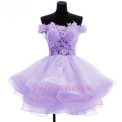 Cute Ruffles Short Off-the-Shoulder Flowers Homecoming Dress_1