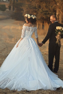 Vintage Bateau Half Sleeve Lace Wedding Dress Latest Custom Made Sweep Train Bridal Gown MH051_5