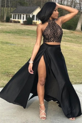 Halter Open Back Two Piece Prom Dresses | Black Lace Sexy Slit Sleeveless  Evening Dress_1