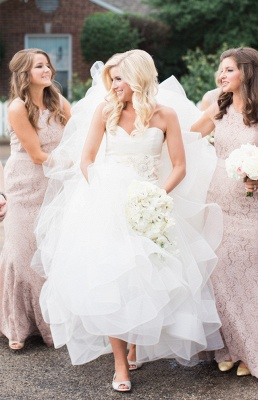 Ruffled Organza Wedding Dresses  Sweetheart Bridal Gowns with Beads Flowers_5
