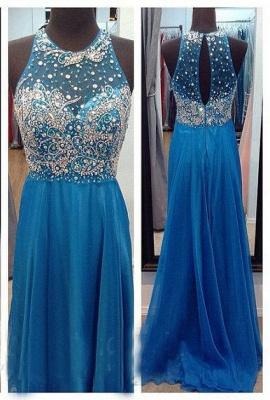 Ocean Blue Halter Sparkly  Chiffon Prom Dresses with Sheer Back Crystal Popular Long Evening Dresses_1