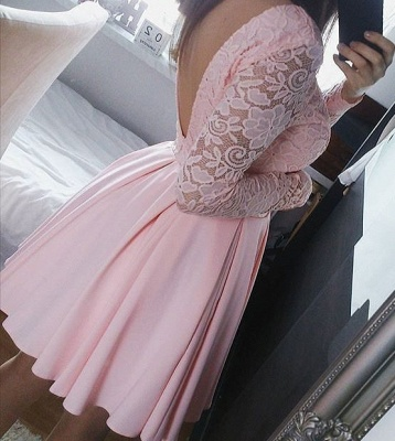 A-Line Pink Long Sleeve  Summer Dresses Lace Open Back Short Homecoming Gowns AE0208_1