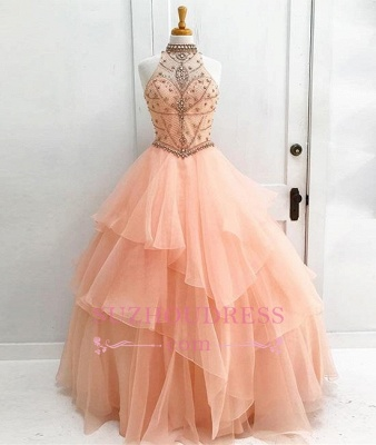 New Arrival Elegant Ball High Neck Sleeveless Gown Evening Dresses with Beading_1