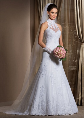 Gorgeous A Line High Neck Wedding Dress  Lace Sheer Sleeveless Sheath Bridal Gowns_1