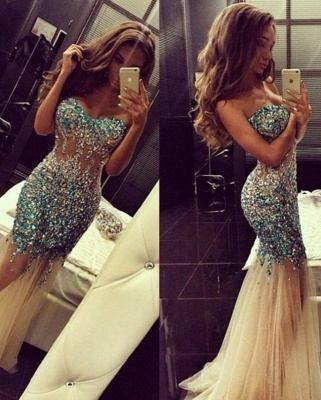 Crystal Sweetheart Mermaid Tulle Eveining Dress New Arrival Long Formal Occasion Dresses_1