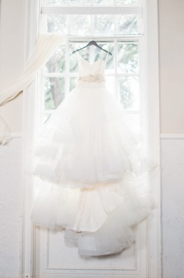 Ruffled Organza Wedding Dresses  Sweetheart Bridal Gowns with Beads Flowers_4