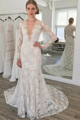 Simple Lace Mermaid Wedding Dresses  | Long Sleeves Mermaid Bridal Gowns_1