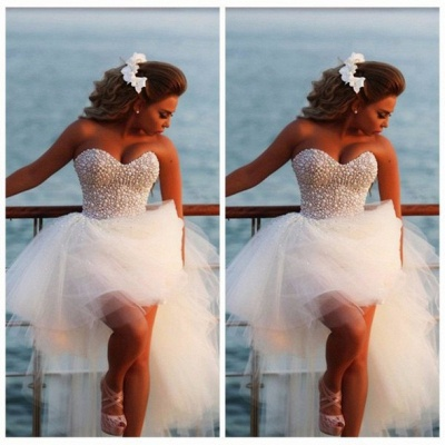 Crystal White Sweetheart Tulle Beach Wediing Dress Cute Ball Gown Latest Summer Bridal Gowns with Beadings_2