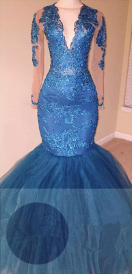Ocean Blue Lace Appliques Mermaid Prom Dress  V-neck Long Sleeve Sheer Evening Gowns BA6083_1