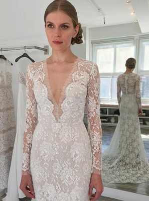 Simple Lace Mermaid Wedding Dresses  | Long Sleeves Mermaid Bridal Gowns_3