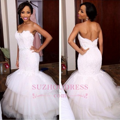 Newest Sweetheart Tiered Mermaid Tulle Appliques Crystal Wedding Dress_1