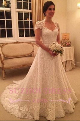Newest Sweep-Train Zipper Short-Sleeve A-line Lace Wedding Dress BD034_5