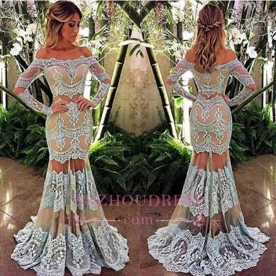 Mermaid Sheer Off-Shoulder Formal Evening Dress Lace Long Sleeve  Prom Dress BA4074_1