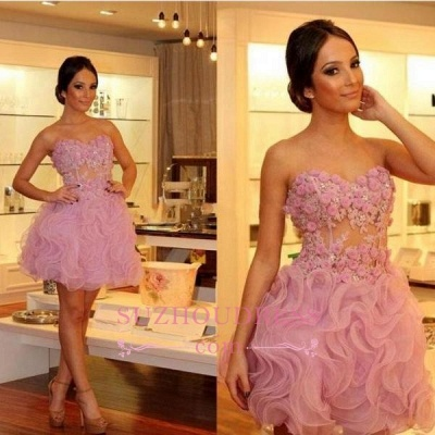 Sexy Pink Organza Strapless  Homecoming Dresses | Short Flowers Hoco Dresses_1
