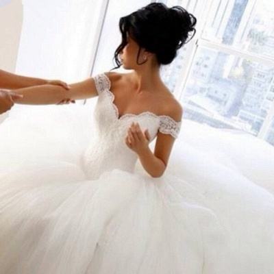 Off The Shoulder Lace Wedding Dresses  Princess Ball Gown Tulle Skirt Bride Dress_4