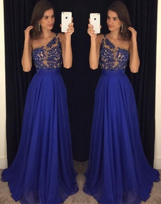Royal Blue One Shoulder Beading  Prom Dress Latest A-Line Chiffon Party Dresses_1
