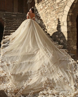Off The Shoulder Flowers Gorgeous Wedding Dress  Puffy Tulle Beaded Crystals Ball Gown Princess  Bride Dress_6