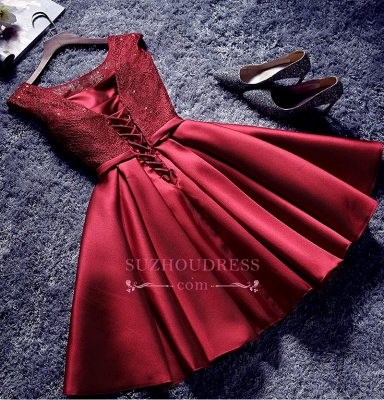 Red Lace-Up-Back A-line Homecoming Dresses Bowknot-Sash BA7429_4