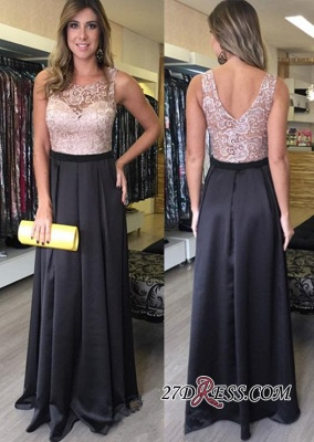 Gorgeous Zipper Lace A-Line Sleeveless Floor-Length Prom Dresses_1