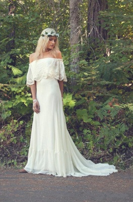 Off The Shoulder  Bohemian Wedding Dresses Lace Summer Beach Wedding Gown BO6883_3