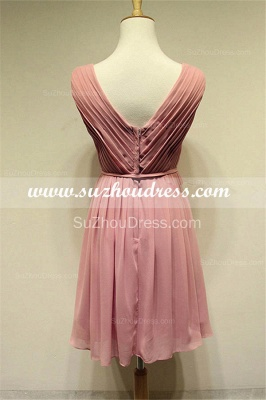 V-Neck  Simple Chiffon Pink Summer Dresses Ruffle Mini Popular Fitted Plus Size Homecoming Dresses_2
