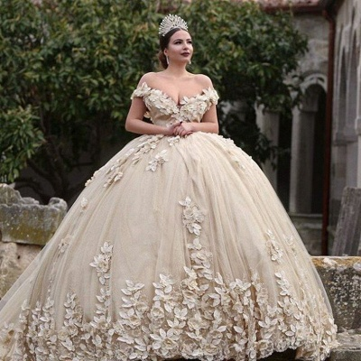 Off The Shoulder Flowers Gorgeous Wedding Dress  Puffy Tulle Beaded Crystals Ball Gown Princess  Bride Dress_5