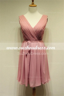 V-Neck  Simple Chiffon Pink Summer Dresses Ruffle Mini Popular Fitted Plus Size Homecoming Dresses_3