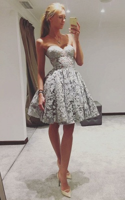 Simple Lace Short Homecoming Dress | Sweetheart A-line Simple Hoco Dress_1