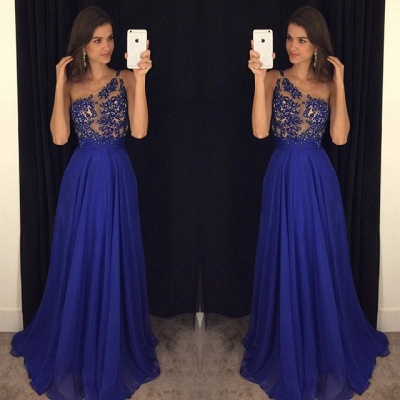 Royal Blue One Shoulder Beading  Prom Dress Latest A-Line Chiffon Party Dresses_3