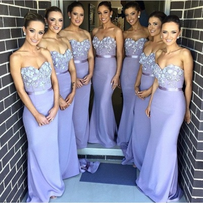 Elegant Lavender Sweetheart Lace Wedding Party Dresses Popular Custom Made Sash Long Bridesmaid Dress BO7784_2
