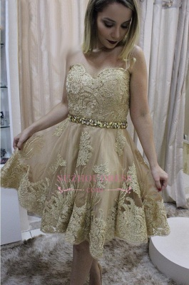 Short Sleeveless Homecoming Dress | Crystals Lace Sweetheart Party Dresses_1