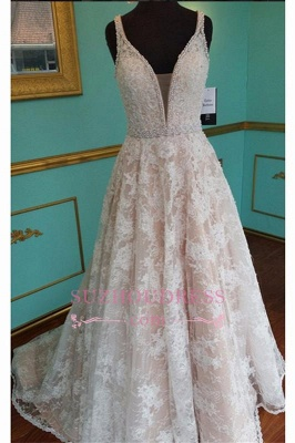 Elegant Sleeveless Lace V-Neck Pink Crystal Prom Dress_4