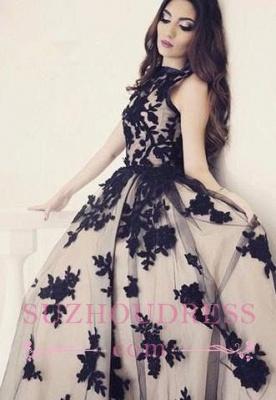 Scoop-Neckline Ball-Gown  Apppliques Elegant Sweep-train Prom Dress_4