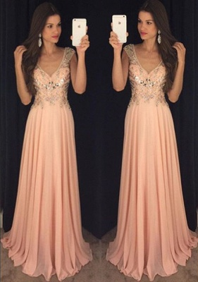 Elegant A-Line Crystal Chiffon Prom Dress Plunging Neck Beading  Party Dresses_1