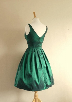 Cute Empire Taffeta Green Short Hoemcoming Dress V-Neck Spaghetti Strap Plus Size Cocktail Dresses_3